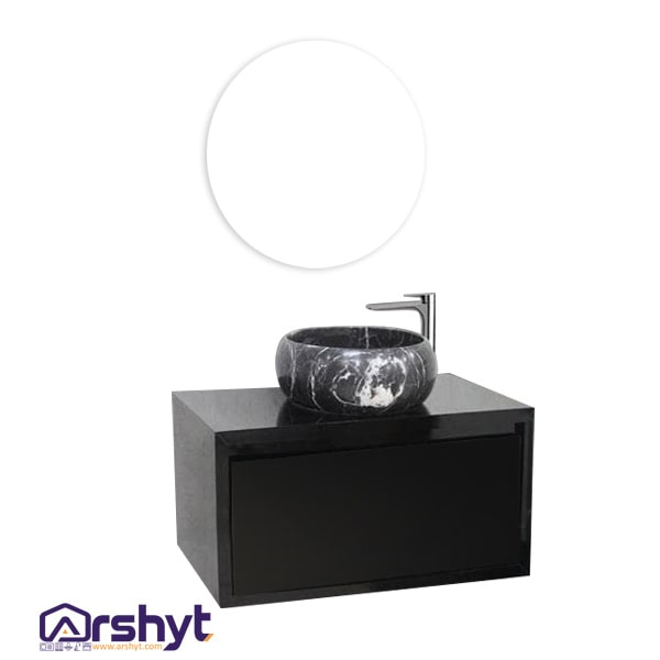 ست کابینت روشویی آینه مرمر مشکی